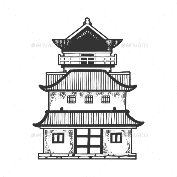 Japanese Temple Pagoda House Sketch Engraving - Buildings Objects