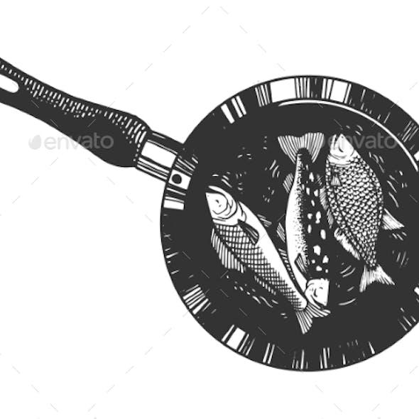 Fish Is Fried in Pan Sketch Vector