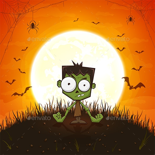 Halloween Zombie and Spiders on Orange Background - Halloween Seasons/Holidays