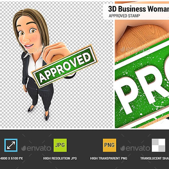 3D Business Woman Approved Stamp