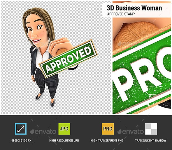 3D Business Woman Approved Stamp - Characters 3D Renders