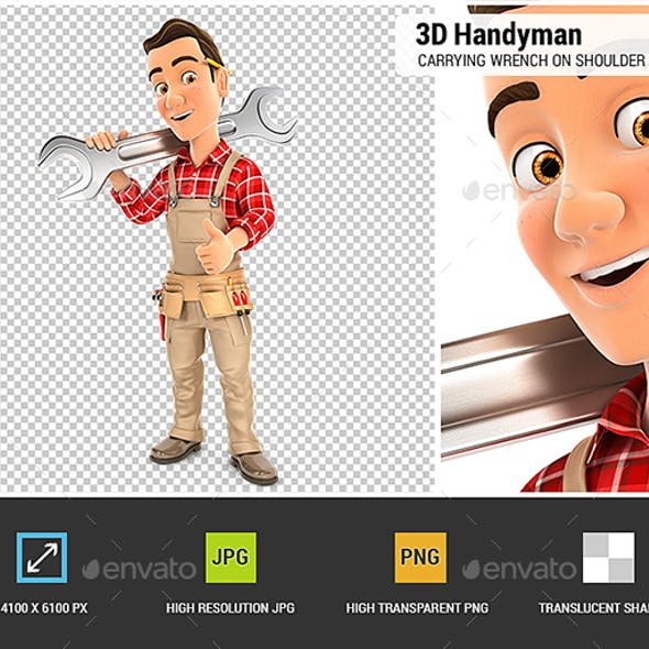 3D Handyman Carrying Wrench on Shoulder