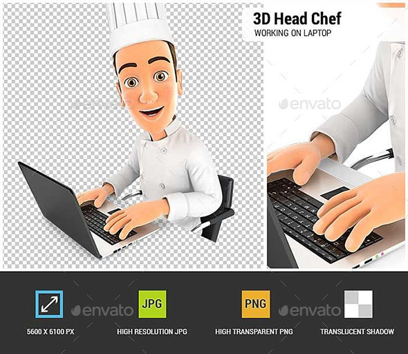 3D Head Chef Working on Laptop - Characters 3D Renders