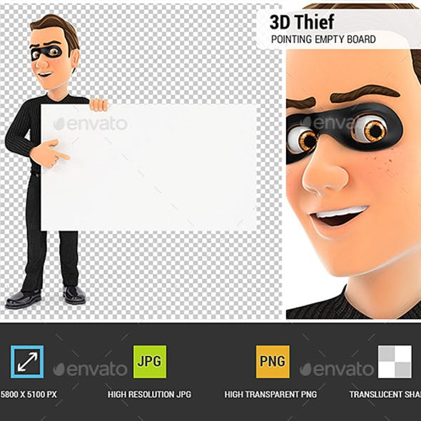 3D Thief Pointing Empty Board
