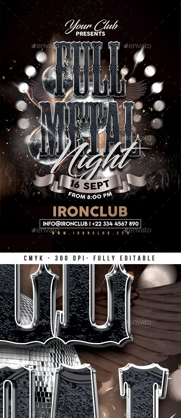 Full Metal Night Party Flyer - Events Flyers