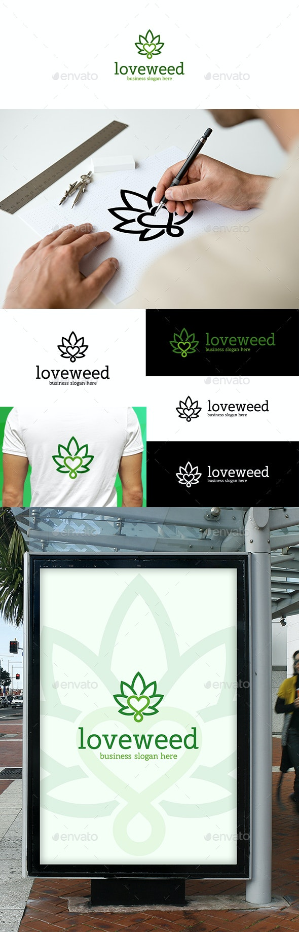 Weed Love Cannabis Leaf Logo - Nature Logo Templates