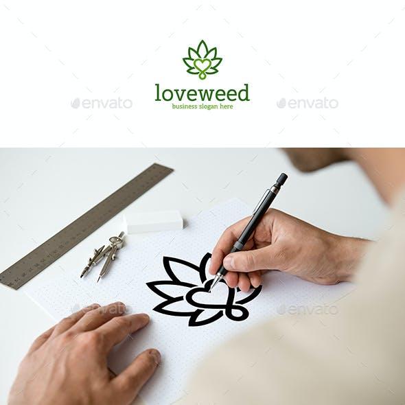 Weed Love Cannabis Leaf Logo