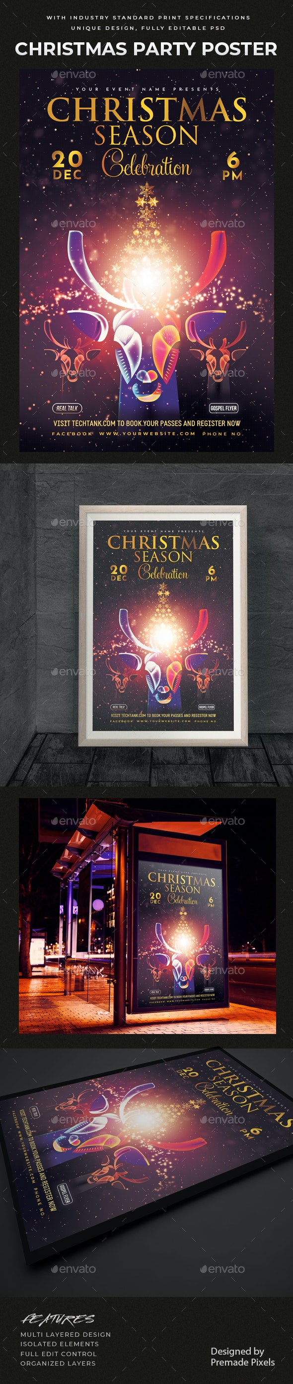 Christmas Party Celebration Poster - Holidays Events