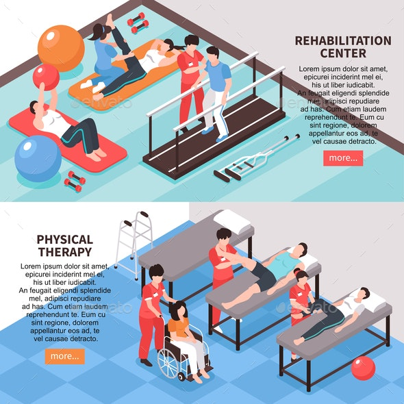Isometric Rehabilitation Horizontal Banners - Sports/Activity Conceptual