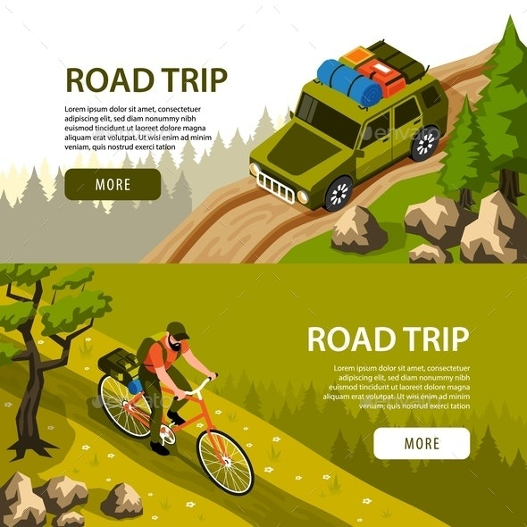Isometric Camping Horizontal Banners - Sports/Activity Conceptual