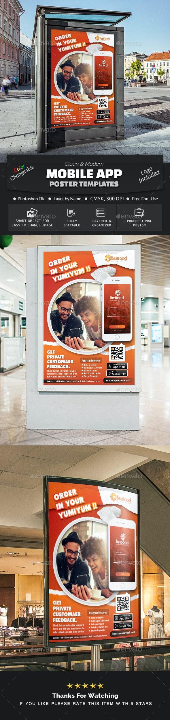 Restaurant Mobile App Poster Templates - Signage Print Templates