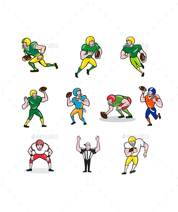 American Football Player Cartoon Collection Set - Sports/Activity Conceptual
