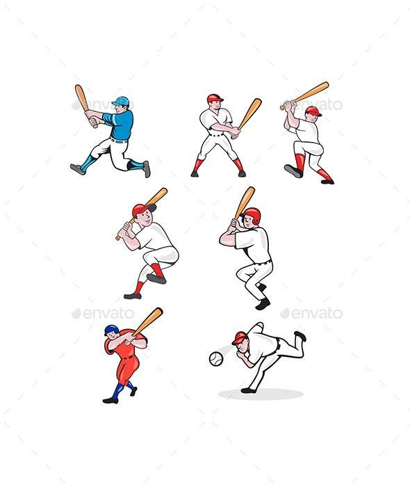 Baseball Player Cartoon Set - Sports/Activity Conceptual