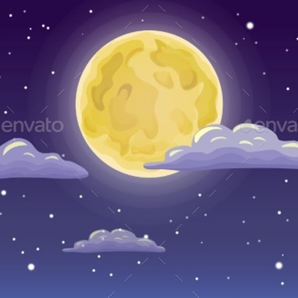 Vector Full Moon Stars and Clouds on Dark Background