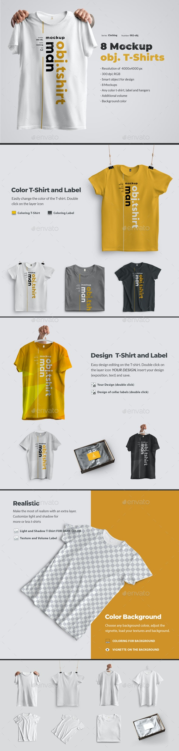 8 Mockups T-Shirts on a Hanger, in Hands and in a Box - T-shirts Apparel