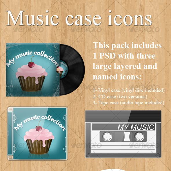 Realistic music case graphics (Vinyl + CD + tape)