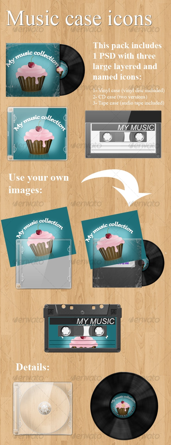 Realistic music case graphics (Vinyl + CD + tape) - Discs Packaging