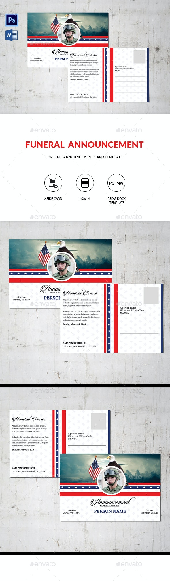 Funeral Announcement Card Template for ARMY - Invitations Cards & Invites