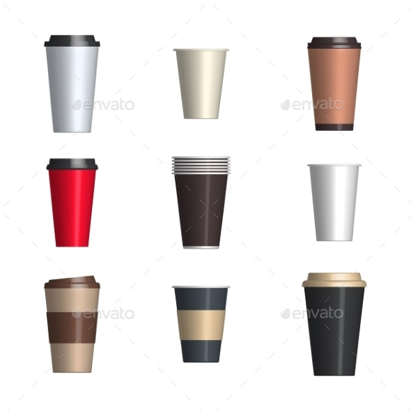 Set of Glossy Coffee Cups - Miscellaneous Vectors