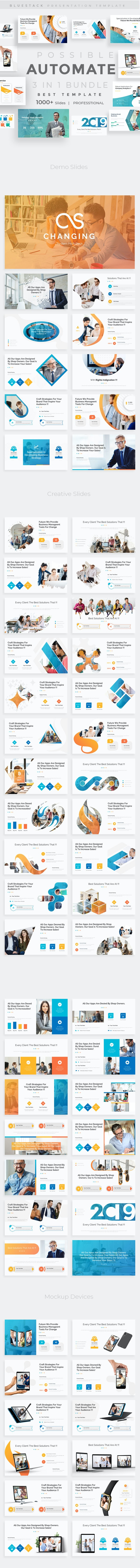 3 in 1 Automate Possible Bundle Creative and Business Pitch Deck Powerpoint Template - Creative PowerPoint Templates