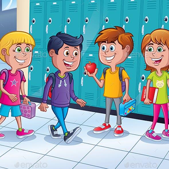 Kids Standing By Lockers in School Hallway