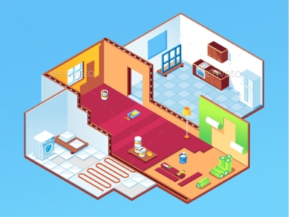 Isometric Apartment or Room During House Repair - Buildings Objects