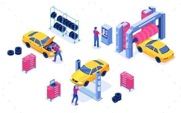 Car Service Auto Maintenance Garage - Man-made Objects Objects