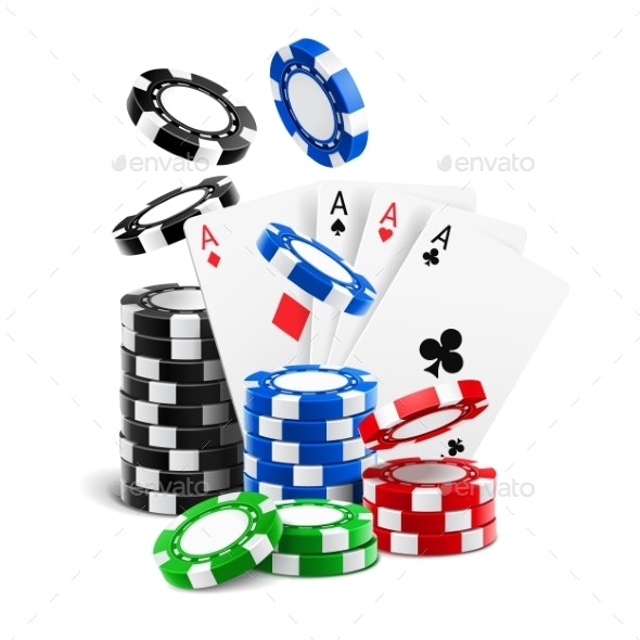 Aces Lying Near Realistic Casino Chips Cards - Sports/Activity Conceptual