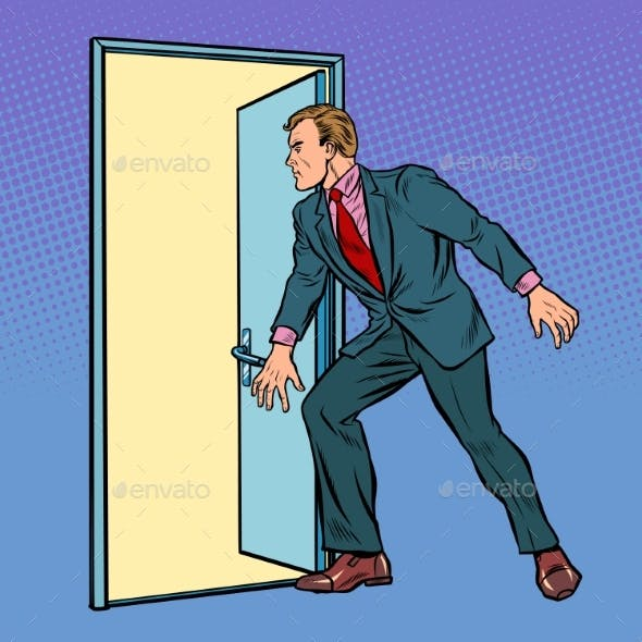 Businessman Opens the Door