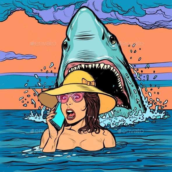 A Shark Attacks a Woman at Sea - Animals Characters