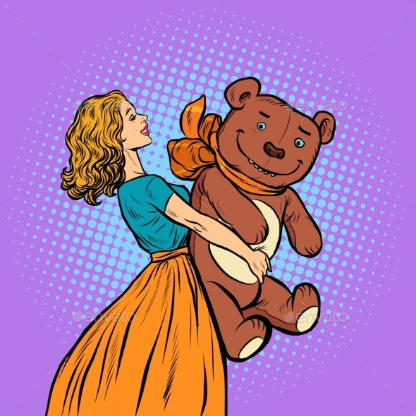 Young Woman and Bear Gift - People Characters