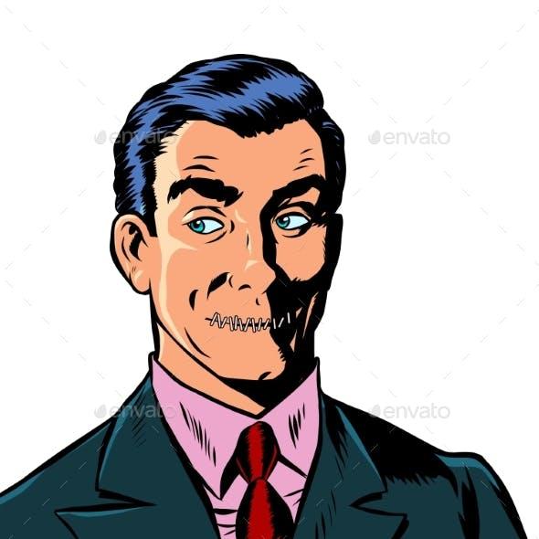 Pop Art Man Mouth Locked Censorship Secret Isolated