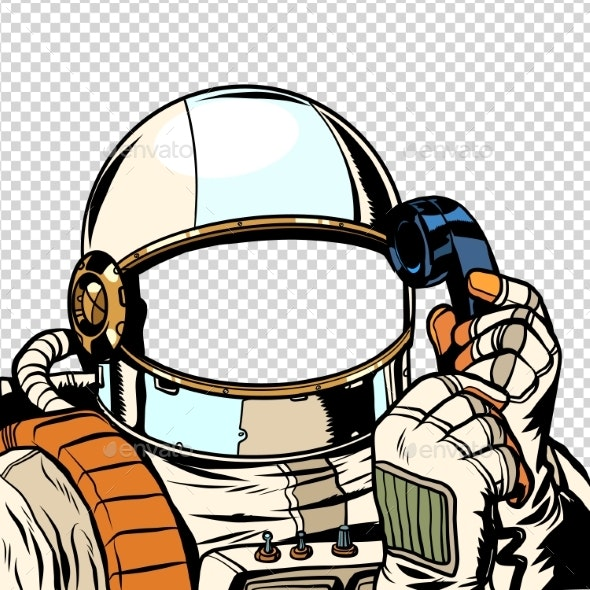 The Astronaut Is Talking on the Phone Empty - Miscellaneous Vectors