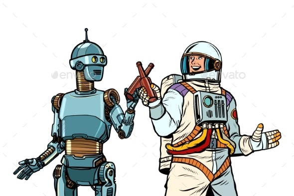 Robot and Astronaut Drink Beer Together - Food Objects