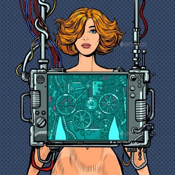 Cyberpunk Naked Robot Woman Virtual Reality - People Characters