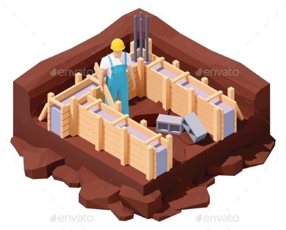 Vector Isometric House Foundation Works - Buildings Objects