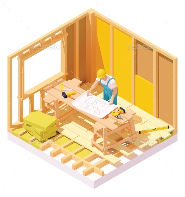 Vector Isometric House Construction - Buildings Objects