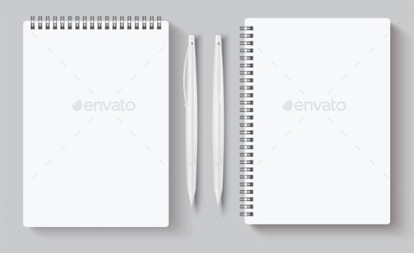 Realistic Spiral Notebooks Blank Notepad and Pen - Backgrounds Decorative