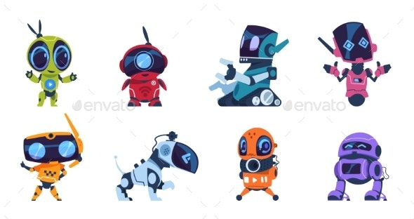 Futuristic Robots Cartoon Modern AI Characters - Miscellaneous Characters
