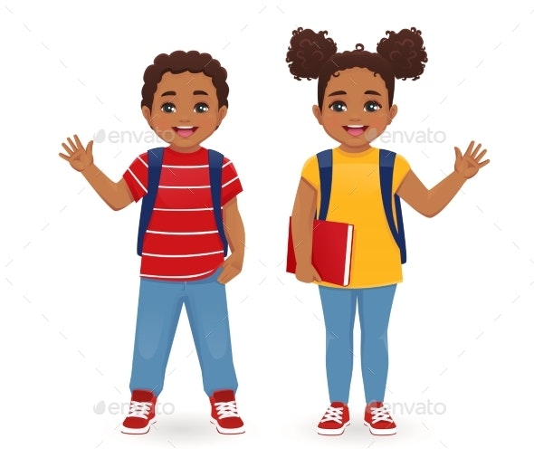 School Boy and Girl - People Characters