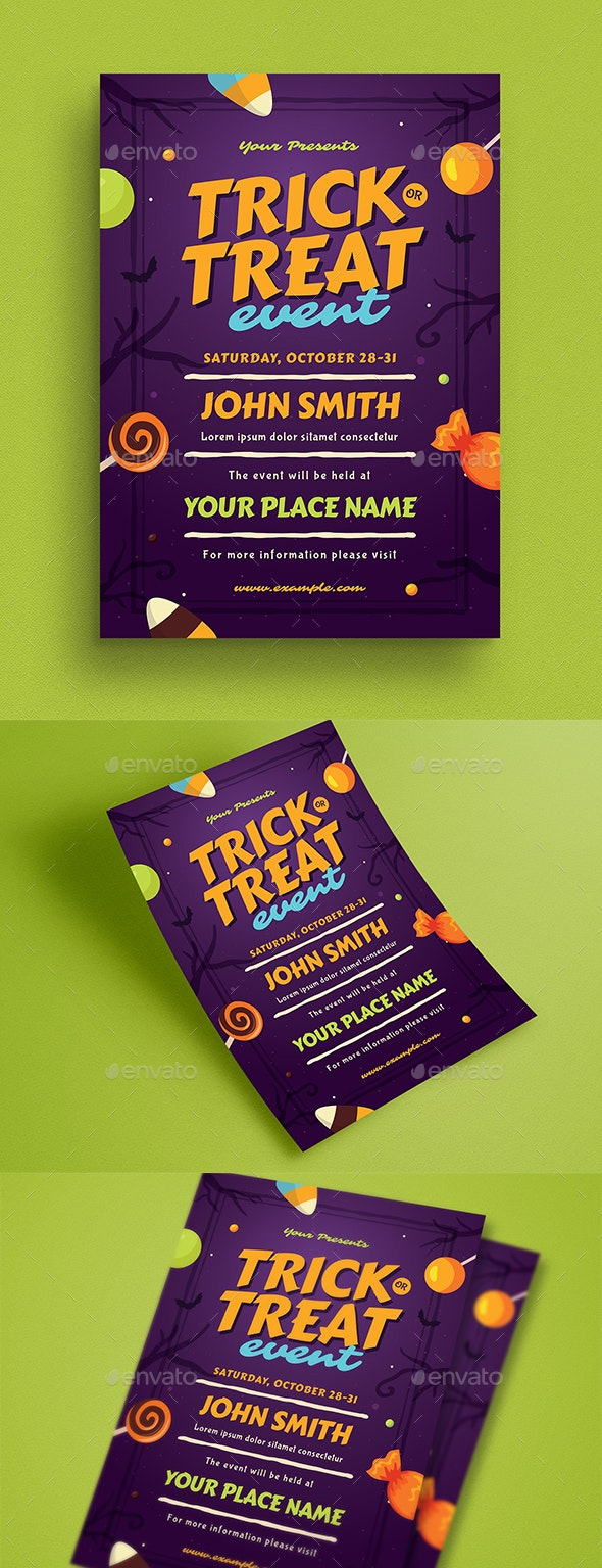 Halloween Trick or Treat Event Flyer - Flyers Print Templates