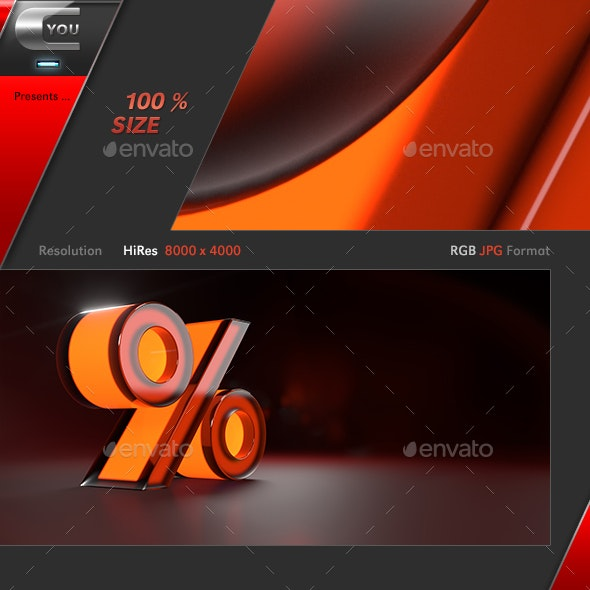 Red Neon Percentage Glass Sign - 3D Backgrounds