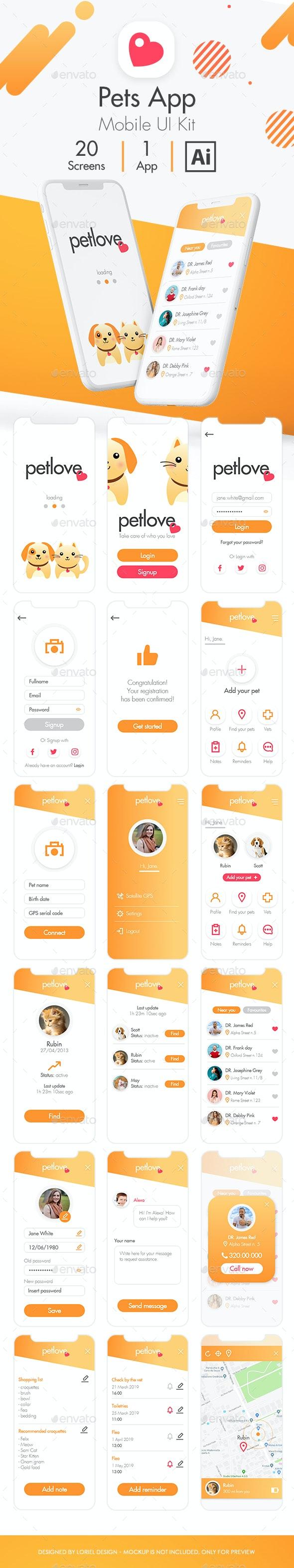 Petlove - Mobile Pets App Ui kit - User Interfaces Web Elements