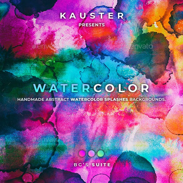 120 Watercolor Splashes Backgrounds