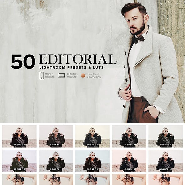 50 Editorial Lightroom Presets and LUTs