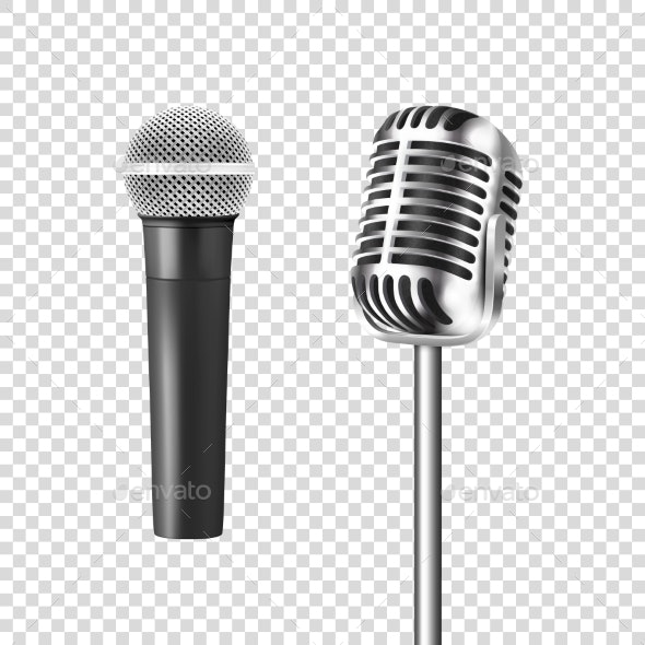 Vector Realistic Steel Silver Retro Concert Mic - Man-made Objects Objects