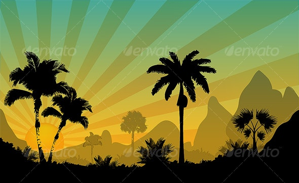 Palm trees of sunny desert - Miscellaneous Vectors