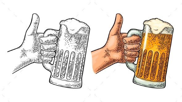 Male Hand Holding Beer Glass and Showing Symbol - People Characters