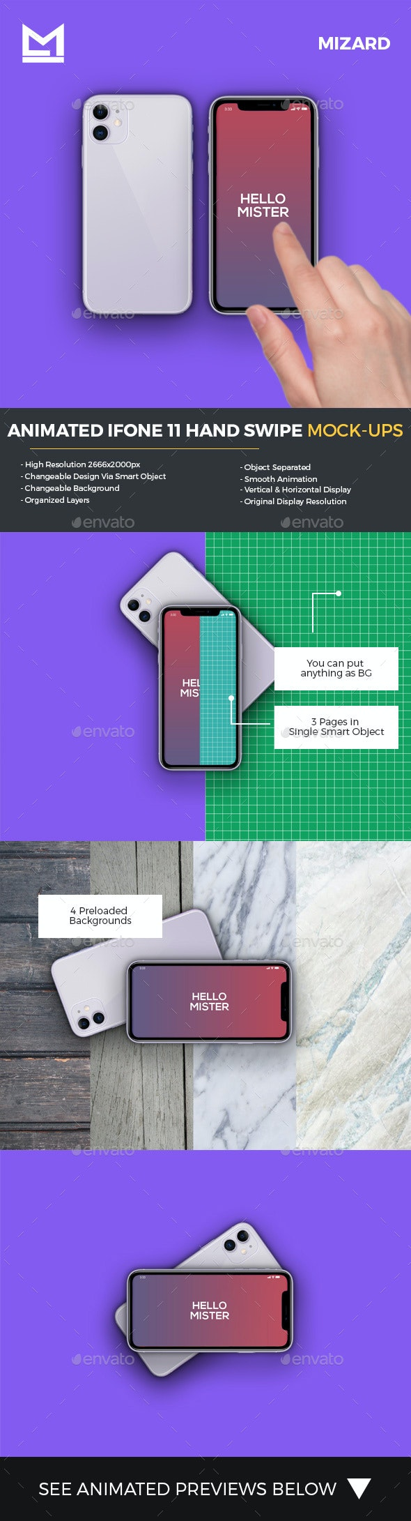 Animated iFone 11 Hand Swipe Mockup - Product Mock-Ups Graphics
