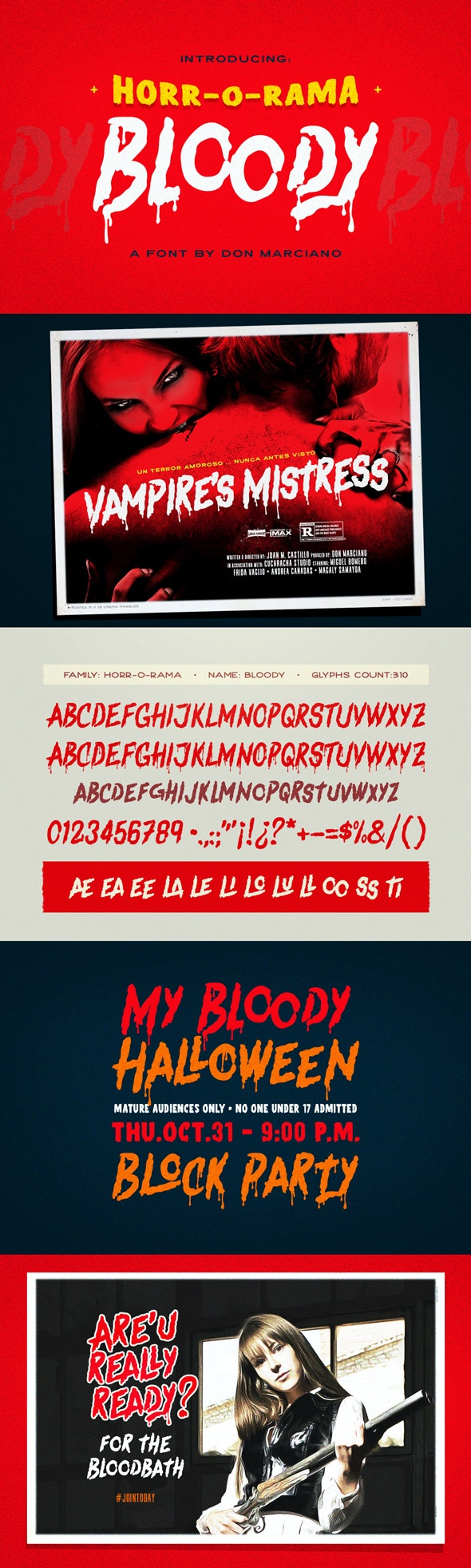 Bloody Scary Font - Holiday Decorative